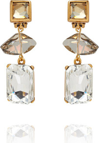 Geometric Crystal Bead Drop Earrings - predominant colour: gold; occasions: evening, work, occasion; style: drop; length: mid; size: standard; material: chain/metal; fastening: clip on; embellishment: crystals