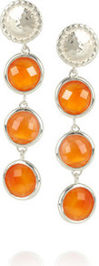 Mini Luna Sterling Silver Carnelian Drop Earrings - predominant colour: silver; occasions: evening, occasion; style: drop; length: long; size: standard; material: chain/metal; fastening: pierced; finish: plain; embellishment: jewels