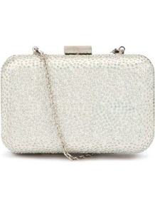 Cream Diamante Encrusted Box Clutch - predominant colour: silver; occasions: evening; style: clutch; length: hand carry; size: small; material: satin; embellishment: crystals; pattern: plain; finish: metallic