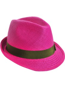 Panama Johnny - predominant colour: hot pink; secondary colour: khaki; occasions: casual, holiday; type of pattern: standard; style: trilby; size: standard; material: macrame/raffia/straw; embellishment: ribbon; pattern: plain