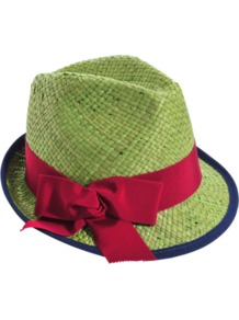 Johnny Hat - secondary colour: hot pink; predominant colour: lime; occasions: casual, holiday; type of pattern: light; style: trilby; size: standard; material: macrame/raffia/straw; embellishment: ribbon; pattern: colourblock