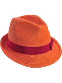 Panama Johnny - secondary colour: hot pink; predominant colour: bright orange; occasions: casual, holiday; type of pattern: standard; style: trilby; size: standard; material: macrame/raffia/straw; embellishment: ribbon; pattern: plain