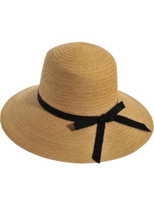 Pamela Brimmed Hat - predominant colour: camel; secondary colour: black; occasions: casual, holiday; type of pattern: standard; style: wide brimmed; size: standard; material: macrame/raffia/straw; embellishment: ribbon; pattern: plain