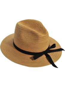 Large Hat - predominant colour: camel; secondary colour: black; occasions: casual, holiday; type of pattern: standard; style: panama; size: standard; material: macrame/raffia/straw; embellishment: ribbon; pattern: plain