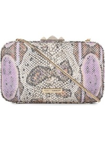 Vincent Minaudiere Clutch - predominant colour: ivory; secondary colour: taupe; occasions: evening, occasion; type of pattern: heavy; style: clutch; length: hand carry; size: small; material: leather; pattern: animal print; trends: statement prints; finish: plain; embellishment: chain/metal