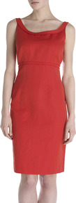 Knot Stitch Dress - style: shift; fit: tailored/fitted; pattern: plain; sleeve style: sleeveless; predominant colour: bright orange; occasions: casual, occasion; length: just above the knee; neckline: scoop; fibres: cotton - mix; sleeve length: sleeveless; texture group: linen; pattern type: fabric; embellishment: embroidered
