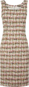 Multicolour Tweed Shift Dress - sleeve style: wide vest straps; style: shift; fit: tailored/fitted; pattern: herringbone/tweed; occasions: work, occasion; length: just above the knee; neckline: scoop; fibres: nylon - mix; predominant colour: multicoloured; sleeve length: sleeveless; pattern type: fabric; pattern size: standard; texture group: tweed - bulky/heavy