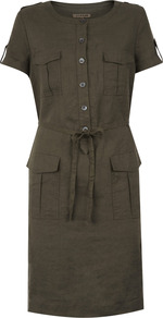 Linen Shirt Dress - style: shirt; neckline: round neck; fit: tailored/fitted; pattern: plain; hip detail: front pockets at hip; bust detail: pocket detail at bust; waist detail: belted waist/tie at waist/drawstring; predominant colour: chocolate brown; occasions: casual, holiday; length: just above the knee; fibres: linen - 100%; sleeve length: short sleeve; sleeve style: standard; texture group: linen; pattern type: fabric