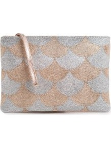 Touch Scallop Pattern Metallic Clutch - predominant colour: blush; secondary colour: silver; occasions: evening, occasion; type of pattern: standard; style: clutch; length: hand carry; size: standard; material: leather; embellishment: sequins; trends: metallics; finish: metallic; pattern: patterned/print