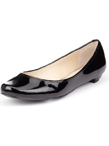 Autograph Coated Leather Patent Finish Pumps - predominant colour: black; occasions: casual, work; material: leather; heel height: flat; toe: round toe; style: ballerinas / pumps; finish: patent; pattern: plain