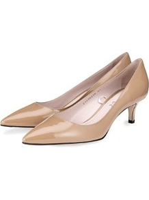 Autograph Leather Pointed Toe Kitten Heel Shoes With Insolia® - predominant colour: camel; occasions: evening, work, occasion; material: leather; heel height: mid; heel: kitten; toe: pointed toe; style: courts; finish: patent; pattern: plain