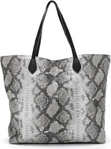 Faux Snakeskin Design Metallic Shopper Bag - predominant colour: mid grey; occasions: casual, work; type of pattern: standard; style: tote; length: shoulder (tucks under arm); size: oversized; material: faux leather; pattern: animal print; finish: plain