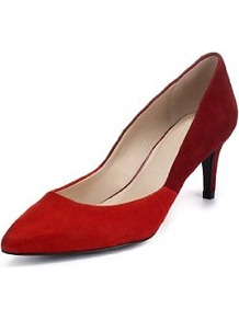 Autograph Suede Two Tone Court Shoes With Insolia - predominant colour: true red; occasions: evening, work, occasion; material: suede; heel height: mid; heel: stiletto; toe: pointed toe; style: courts; finish: plain; pattern: colourblock