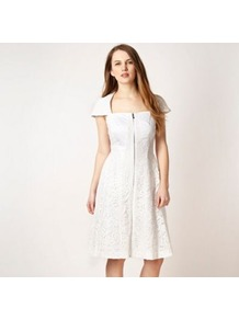 White Lace Panel Dress - sleeve style: capped; pattern: plain; waist detail: fitted waist; predominant colour: white; occasions: casual, occasion; length: on the knee; fit: fitted at waist & bust; style: fit & flare; fibres: polyester/polyamide - stretch; sleeve length: short sleeve; texture group: lace; neckline: low square neck; pattern type: fabric