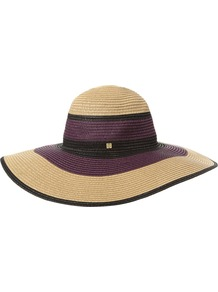 Floppy Weave Hat, Multi Coloured - predominant colour: purple; secondary colour: stone; occasions: casual, holiday; type of pattern: standard; style: wide brimmed; size: standard; material: macrame/raffia/straw; pattern: colourblock