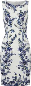 Women&#x27;s Lupin Print Dress, Multi Coloured - style: shift; neckline: round neck; sleeve style: sleeveless; predominant colour: white; secondary colour: navy; occasions: evening, occasion; length: just above the knee; fit: body skimming; fibres: cotton - stretch; sleeve length: sleeveless; texture group: jersey - clingy; trends: high impact florals, glamorous day shifts; pattern type: fabric; pattern size: big &amp; light; pattern: florals