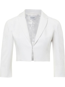 Women's Dorset Jacket, White - pattern: plain; style: single breasted blazer; bust detail: added detail/embellishment at bust; length: cropped; collar: standard lapel/rever collar; predominant colour: white; occasions: evening, occasion, holiday; fit: tailored/fitted; fibres: cotton - mix; sleeve length: 3/4 length; sleeve style: standard; texture group: cotton feel fabrics; collar break: medium; pattern type: fabric