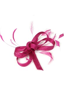 Feather And Bow Fascinator, Pink - predominant colour: hot pink; occasions: occasion; type of pattern: standard; style: fascinator; size: small; material: macrame/raffia/straw; embellishment: feather; pattern: plain