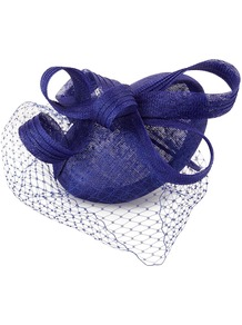 Cecily Hat, Blue - predominant colour: royal blue; occasions: evening, occasion; type of pattern: light; style: fascinator; size: small; material: macrame/raffia/straw; embellishment: bow; pattern: plain