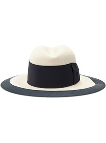 Aldo Panama Hat - predominant colour: white; secondary colour: navy; occasions: casual, holiday; type of pattern: standard; style: panama; size: large; material: macrame/raffia/straw; embellishment: ribbon; pattern: colourblock