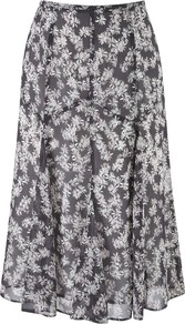 Daisy Print Graphic Skirt, Pewter - length: below the knee; fit: body skimming; waist: mid/regular rise; predominant colour: charcoal; occasions: casual, evening, work; style: fit & flare; fibres: polyester/polyamide - 100%; hip detail: sculpting darts/pleats/seams at hip; texture group: sheer fabrics/chiffon/organza etc.; pattern type: fabric; pattern size: small & busy; pattern: patterned/print