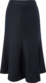 Fit And Flare Skirt, Navy - length: below the knee; pattern: plain; fit: loose/voluminous; hip detail: fitted at hip; waist: mid/regular rise; predominant colour: navy; occasions: casual, work; style: a-line; fibres: linen - 100%; pattern type: fabric; texture group: jersey - stretchy/drapey