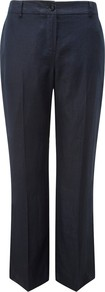 Linen Trousers - length: standard; pattern: plain; waist detail: fitted waist; pocket detail: small back pockets, pockets at the sides; waist: mid/regular rise; predominant colour: black; occasions: evening, work; fibres: linen - 100%; hip detail: fitted at hip (bottoms); texture group: cotton feel fabrics; fit: straight leg; pattern type: fabric; pattern size: small & busy; style: standard