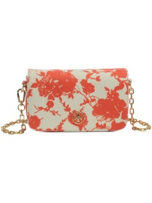 Mini Robinson Printed Bag - secondary colour: ivory; predominant colour: coral; occasions: casual, evening, occasion; type of pattern: heavy; style: shoulder; length: shoulder (tucks under arm); size: small; material: leather; pattern: florals; trends: high impact florals; finish: plain