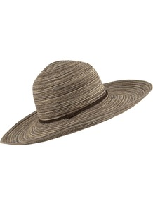 Wide Brim Spiral Hat - secondary colour: chocolate brown; predominant colour: camel; occasions: casual, holiday; type of pattern: light; style: wide brimmed; size: standard; material: fabric; pattern: horizontal stripes