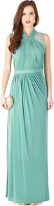 Caprice Jersey Maxi Dress - pattern: plain; sleeve style: sleeveless; style: maxi dress; waist detail: fitted waist; neckline: halter neck; predominant colour: mint green; length: floor length; fit: body skimming; fibres: polyester/polyamide - 100%; occasions: occasion; hip detail: soft pleats at hip/draping at hip/flared at hip; sleeve length: sleeveless; texture group: silky - light; bust detail: tiers/frills/bulky drapes/pleats; pattern type: fabric