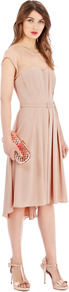 Felicity Dress - length: below the knee; sleeve style: capped; pattern: plain; bust detail: sheer at bust; waist detail: belted waist/tie at waist/drawstring; predominant colour: nude; secondary colour: nude; occasions: evening, occasion; fit: fitted at waist &amp; bust; style: asymmetric (hem); fibres: polyester/polyamide - 100%; neckline: crew; back detail: sheer fabric at back; sleeve length: short sleeve; pattern type: fabric; texture group: other - clingy