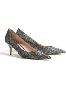 Peony Snake Print Mid Heel Shoes - predominant colour: charcoal; occasions: evening, work; material: leather; heel height: mid; heel: kitten; toe: pointed toe; style: courts; finish: plain; pattern: animal print
