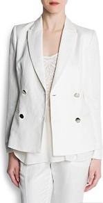 Double Breasted Blazer - pattern: plain; style: double breasted blazer; collar: standard lapel/rever collar; predominant colour: white; occasions: evening, work, occasion; length: standard; fit: tailored/fitted; fibres: linen - mix; back detail: back vent/flap at back; sleeve length: long sleeve; sleeve style: standard; texture group: linen; collar break: medium; pattern type: fabric