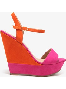 Colorblocked Wedge Sandals - predominant colour: bright orange; occasions: evening, holiday; material: faux leather; heel height: high; ankle detail: ankle strap; heel: wedge; toe: open toe/peeptoe; style: strappy; trends: fluorescent; finish: plain; pattern: colourblock