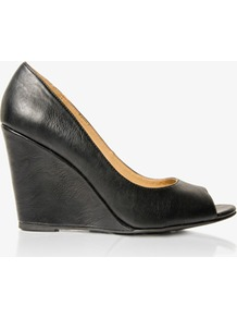 Peep Toe Wedges - predominant colour: black; occasions: casual, evening, work; material: faux leather; heel height: high; heel: wedge; toe: open toe/peeptoe; style: courts; finish: plain; pattern: plain