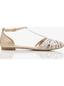 Mirrored T Strap Flats - predominant colour: gold; occasions: casual, evening, work, holiday; material: faux leather; heel height: flat; embellishment: glitter; ankle detail: ankle strap; toe: round toe; style: ballerinas / pumps; trends: metallics; finish: metallic; pattern: plain