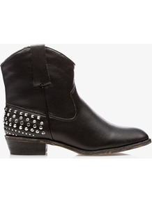 Stud Accented Western Booties - predominant colour: black; occasions: casual, work; material: faux leather; heel height: mid; embellishment: studs; heel: block; toe: pointed toe; boot length: ankle boot; style: cowboy; finish: plain; pattern: plain