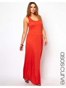 Curve Exclusive Vest Maxi Dress - pattern: plain; sleeve style: sleeveless; style: maxi dress; back detail: racer back/sports back; predominant colour: coral; occasions: casual, evening, holiday; length: floor length; fit: body skimming; neckline: scoop; fibres: viscose/rayon - 100%; sleeve length: sleeveless; pattern type: fabric; pattern size: standard; texture group: jersey - stretchy/drapey