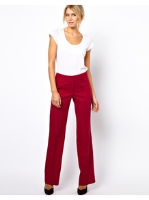 Linen Trousers In Wide Leg - length: standard; pattern: plain; waist: mid/regular rise; predominant colour: true red; occasions: evening, work, occasion; fibres: linen - mix; texture group: cotton feel fabrics; fit: wide leg; pattern type: fabric; pattern size: big & light; style: standard