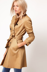 Classic Mac - pattern: plain; hip detail: side pockets at hip; style: mac; length: mid thigh; predominant colour: camel; occasions: casual, work; fit: tailored/fitted; fibres: cotton - stretch; collar: shirt collar/peter pan/zip with opening; waist detail: belted waist/tie at waist/drawstring; back detail: back vent/flap at back; sleeve length: long sleeve; sleeve style: standard; texture group: cotton feel fabrics; collar break: high; pattern type: fabric; pattern size: standard