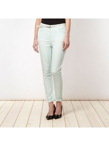 Designer Light Green Belted Skinny Jeans - style: skinny leg; pattern: plain; pocket detail: traditional 5 pocket; waist: mid/regular rise; predominant colour: pistachio; occasions: casual; length: ankle length; fibres: linen - mix; texture group: denim; pattern type: fabric; pattern size: standard