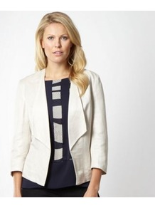 Designer Beige Linen Jacket - pattern: plain; style: single breasted blazer; collar: standard lapel/rever collar; back detail: contrast pattern/fabric at back; predominant colour: ivory; occasions: casual, evening, work, occasion, holiday; length: standard; fit: tailored/fitted; fibres: linen - mix; waist detail: fitted waist; sleeve length: long sleeve; sleeve style: standard; texture group: cotton feel fabrics; collar break: medium; pattern type: fabric; pattern size: standard