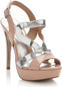 Designer Beige Nikki Sandals - predominant colour: stone; occasions: evening, occasion, holiday; material: faux leather; heel height: high; ankle detail: ankle strap; heel: stiletto; toe: open toe/peeptoe; style: strappy; finish: patent; pattern: plain