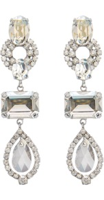 Crystal Dehli Earrings - occasions: evening, occasion; style: drop; length: long; size: large/oversized; material: chain/metal; fastening: pierced; finish: plain; embellishment: crystals; predominant colour: clear