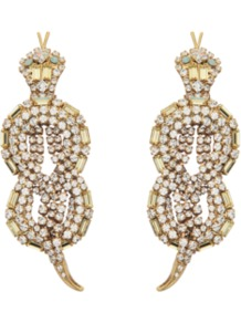 Crystal Snake Earrings - predominant colour: gold; occasions: evening, occasion; style: drop; length: long; size: large/oversized; material: chain/metal; fastening: clip on; finish: metallic; embellishment: crystals