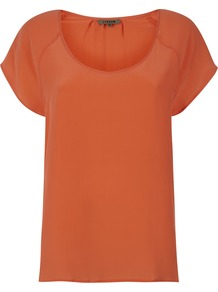 Summer Silk T Shirt - pattern: plain; length: below the bottom; style: t-shirt; predominant colour: bright orange; occasions: casual, evening, work, holiday; neckline: scoop; fibres: silk - 100%; fit: straight cut; shoulder detail: structured/bulky pleats/bulky detail at shoulder; back detail: longer hem at back than at front; sleeve length: short sleeve; sleeve style: standard; texture group: silky - light; pattern type: fabric