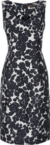 Forties Rose Shift Dress - sleeve style: wide vest straps; style: shift; neckline: round neck; fit: tailored/fitted; secondary colour: white; predominant colour: black; occasions: work, occasion; length: on the knee; fibres: linen - mix; sleeve length: sleeveless; texture group: linen; trends: high impact florals; pattern type: fabric; pattern size: big & busy; pattern: florals