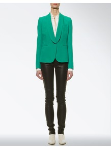 Double Silk Waltz Jacket - pattern: plain; style: single breasted blazer; collar: shawl/waterfall; predominant colour: emerald green; occasions: evening, work, occasion; length: standard; fit: tailored/fitted; fibres: silk - 100%; sleeve length: long sleeve; sleeve style: standard; trends: tuxedo; collar break: medium; pattern type: fabric; texture group: woven light midweight