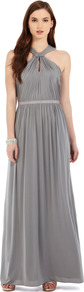 Claudia Jersey Maxi Dress - fit: fitted at waist; pattern: plain; sleeve style: sleeveless; style: maxi dress; waist detail: fitted waist; neckline: halter neck; back detail: low cut/open back; predominant colour: mid grey; occasions: evening, occasion; length: floor length; fibres: polyester/polyamide - stretch; hip detail: soft pleats at hip/draping at hip/flared at hip; sleeve length: sleeveless; texture group: sheer fabrics/chiffon/organza etc.; bust detail: tiers/frills/bulky drapes/pleats; pattern type: fabric