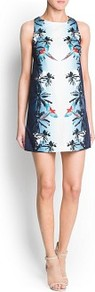 Tropical Print Dress - style: shift; length: mid thigh; sleeve style: sleeveless; predominant colour: white; secondary colour: navy; occasions: evening, occasion, holiday; fit: straight cut; fibres: cotton - stretch; neckline: crew; sleeve length: sleeveless; texture group: cotton feel fabrics; pattern type: fabric; pattern size: big &amp; busy; pattern: patterned/print